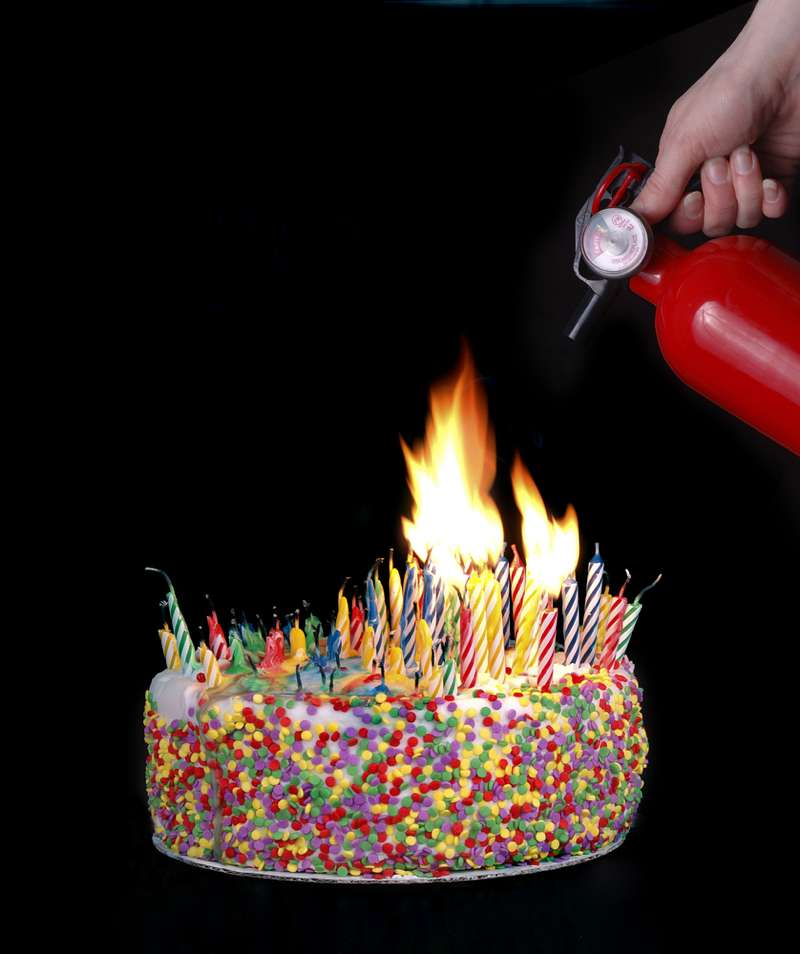 birthday cake with fire extinguisher