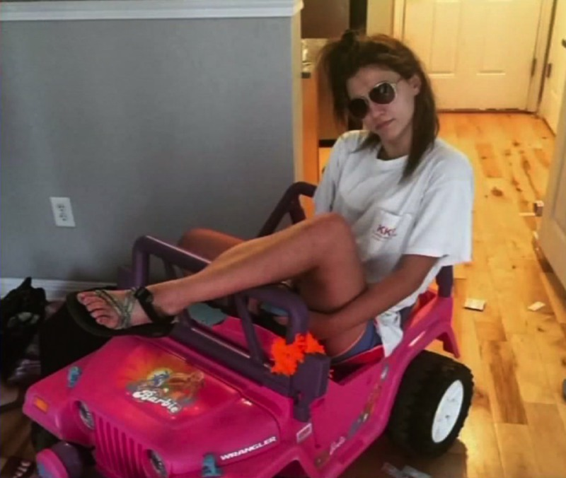 Monroe with her Barbie Jeep