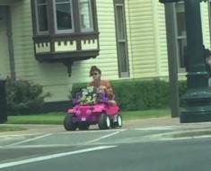Monroe on a Barbie Jeep